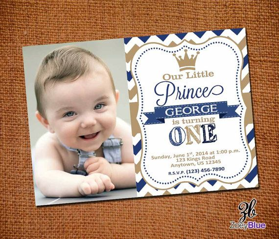 Little Prince Birthday Invitation with Picture by ZoeyBlueDesigns – Prince Birthday Invitation