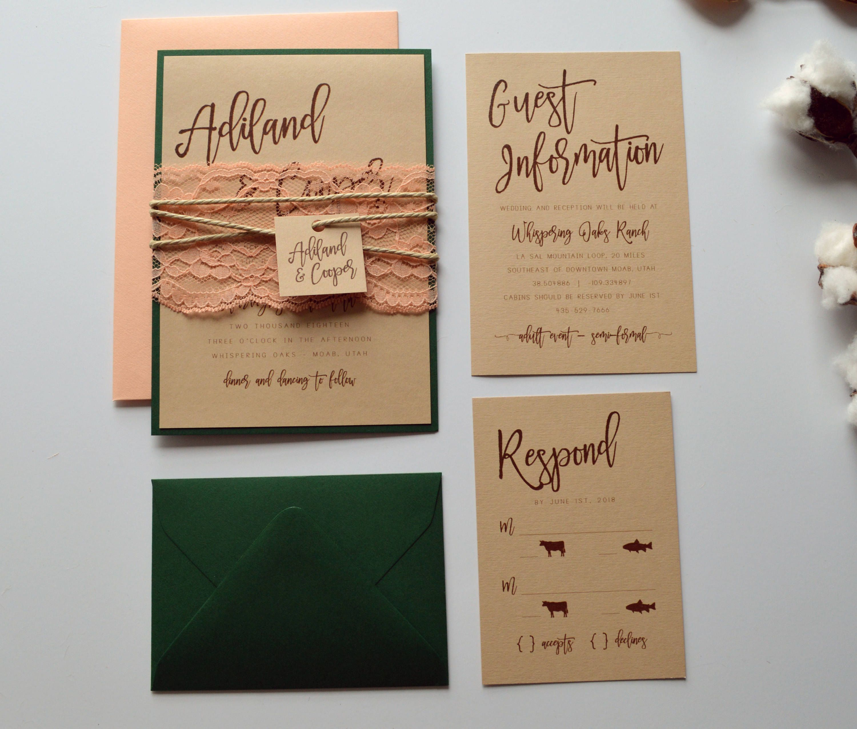 Rustic Wedding Invitation, Kraft Wedding Invitation, Country Wedding ...