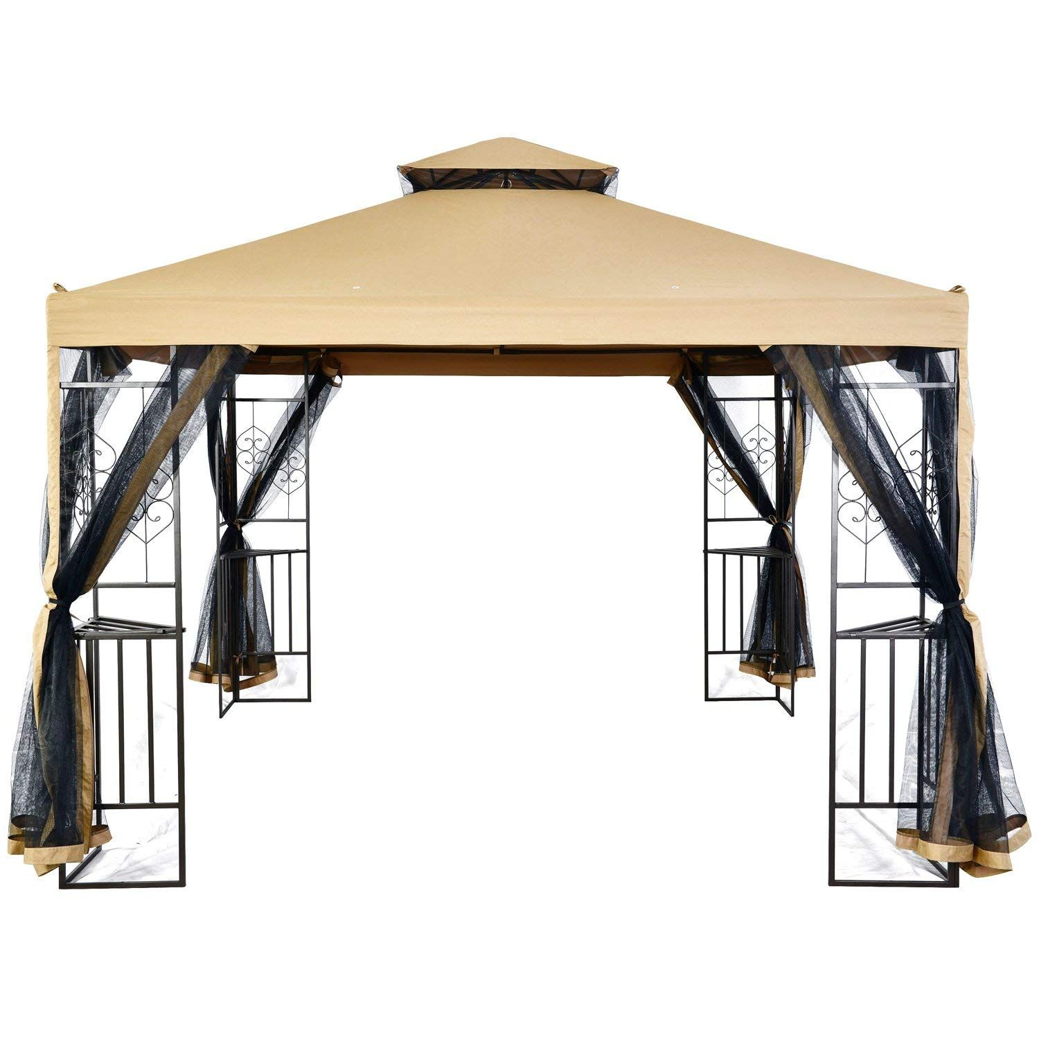 Lch 10 X 10 Ft Outdoor Gazebo 2 Tier Soft Top Canopy Heavy Duty Steel Frame Sun Shelter With Zippered Mosquito Netting Beige Outdoor Gazebos Gazebo Outdoor