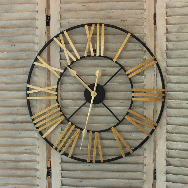 Black and Gold Large Skeleton Wall Clock Wall clocks Black