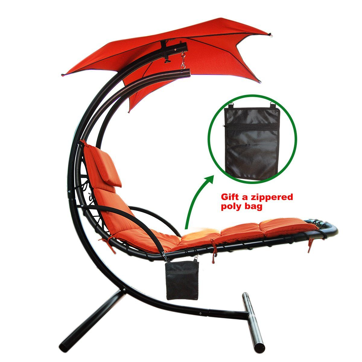Lbs max weight capacity hanging chaise lounger chair with