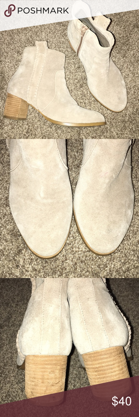 Coconuts by Matisse beige leather booties Coconuts by Matisse beige leather booties, gently used. Bought last year. Comfy chunky heel a little over 2 in. Has a cute almost braided design on the side. Side zipper. Minor scuffing throughout as most suede shoes get these. Matisse Shoes Ankle Boots & Booties