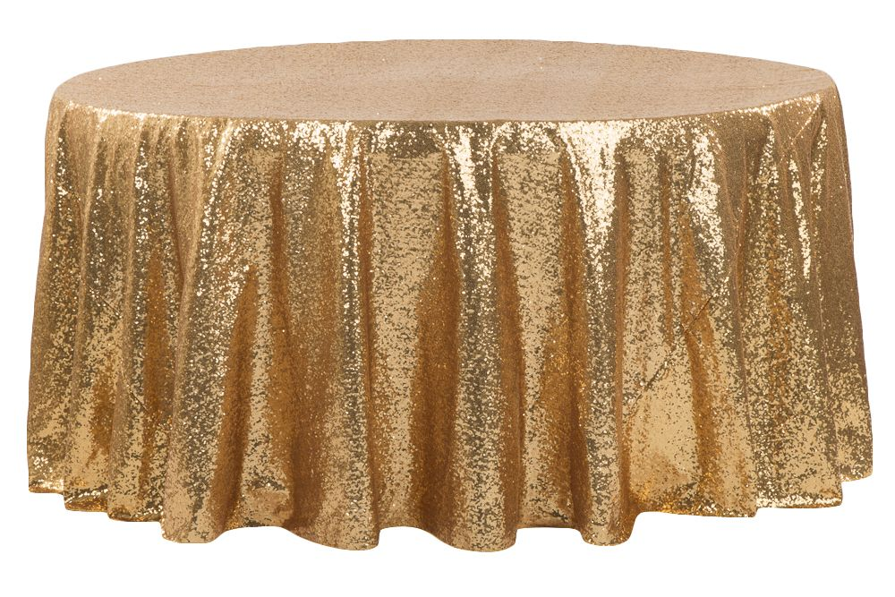 Glitz Sequins 108 Round Tablecloth Gold 120 Round Tablecloth