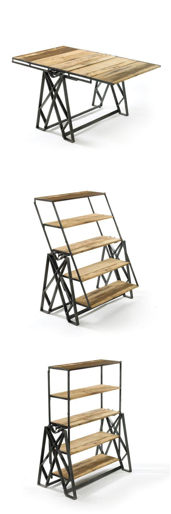 Shelves Fold Down To Table Furniture Furniture Design Interior