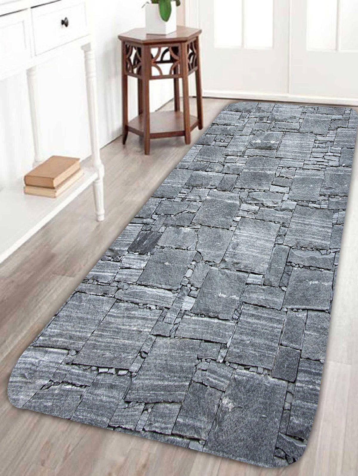 Slabstone pattern coral fleece large door mat