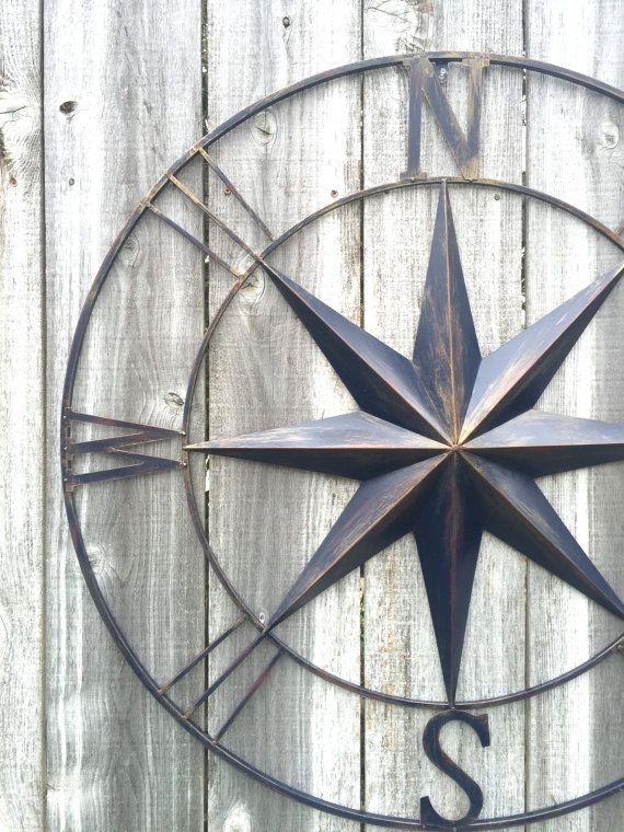 Large metal compass wall decor