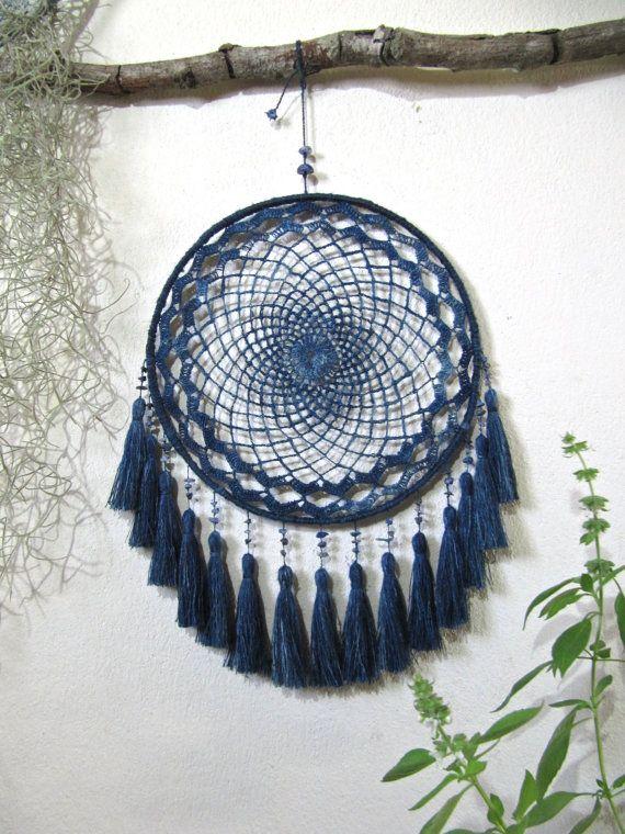 large dreamcatcher natural indigo dye crochet lace home living attrape r ves. Black Bedroom Furniture Sets. Home Design Ideas