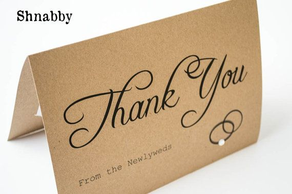 Custom Rustic Wedding Thank You cards with photo insert slot, Kraft
