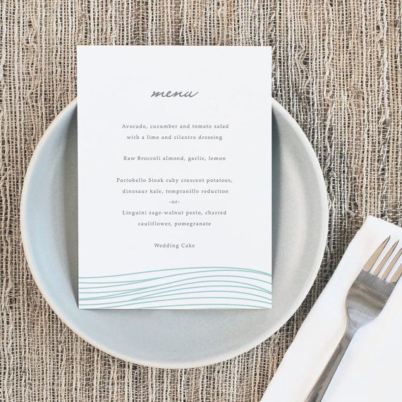 Printable Wedding Menu Template  Instant Download  Ocean  X