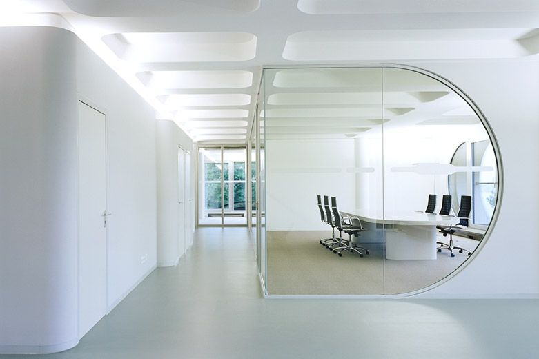 Minimalist Office Interior Design can be your decoration to a room that has  a wall of glass design with a shape like an egg that could shape the  character
