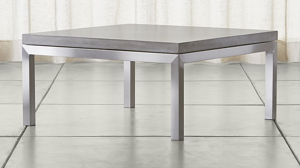 Parsons Concrete Top Stainless Steel Base 36x36 Square Coffee Table