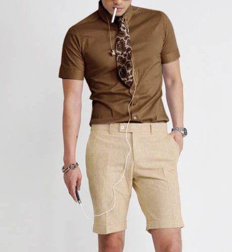 Short Sleeve Turndown Collar Slim Coffee Shirt
