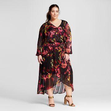 women's plus size feminine maxi dress - ava & viv™   target