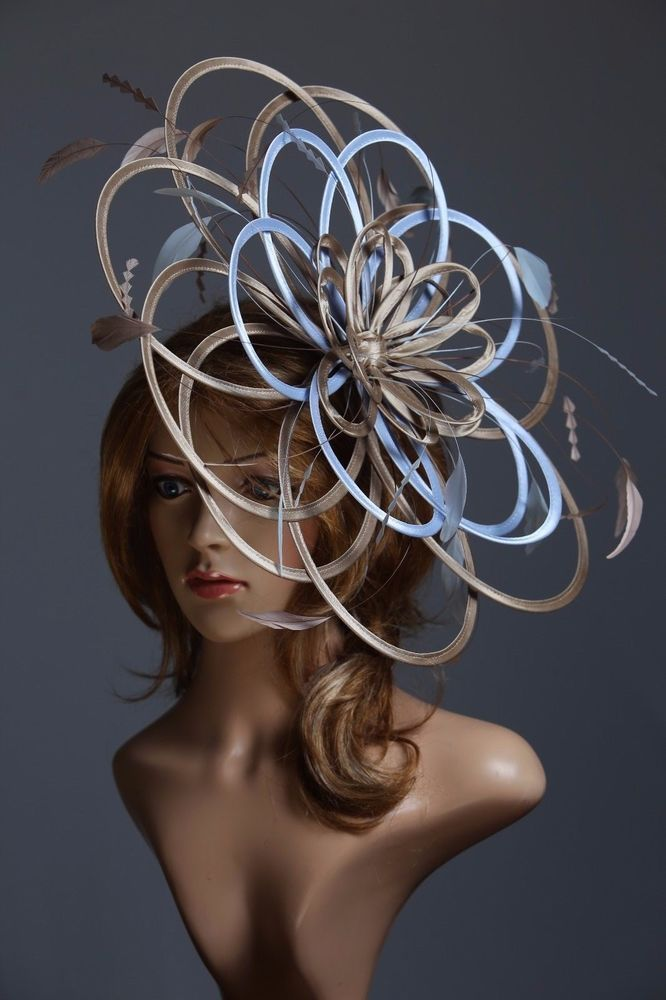 Taupe Nude /& Baby Blue Lillypad Saucer Disc Fascinator hat choose any colours