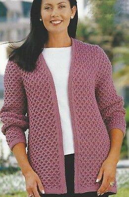 Aran / DK Round Neck CARDIGAN & SWEATER Knitting Pattern ...