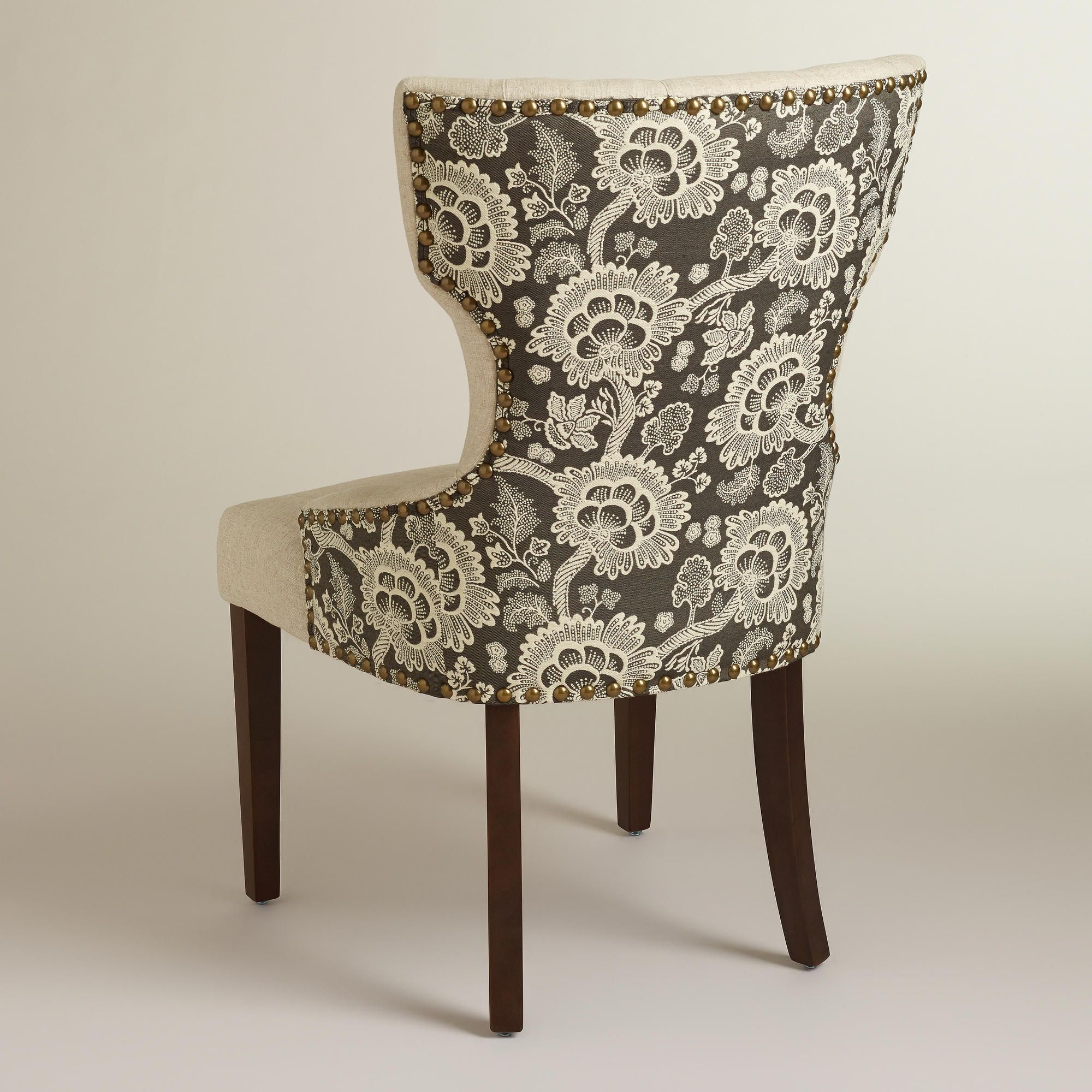 Black Floral And Linen Maxine Dining Chair World Market With