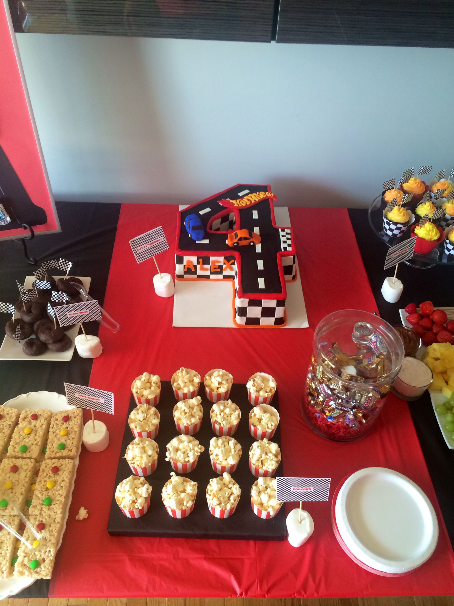 Cake Snack Table Set Up! Hot Wheels Party!! Tags: Boys Party,