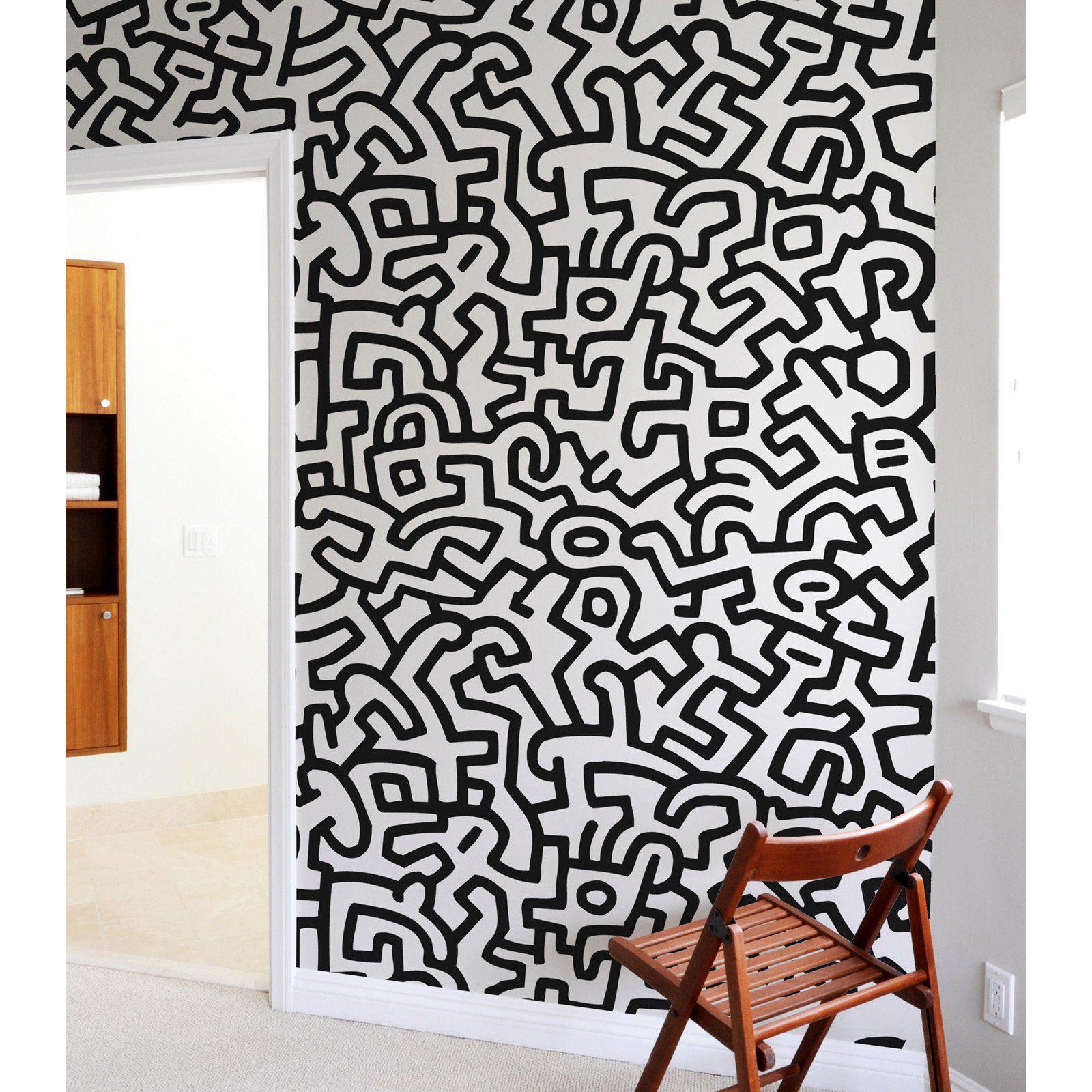 Blik Keith Haring Pattern Wall Tiles   BKH 110 PWT BLACK_WHITE