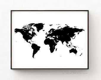 WORLD MAP POSTER, World Map Printable, Modern World Map, Black and on