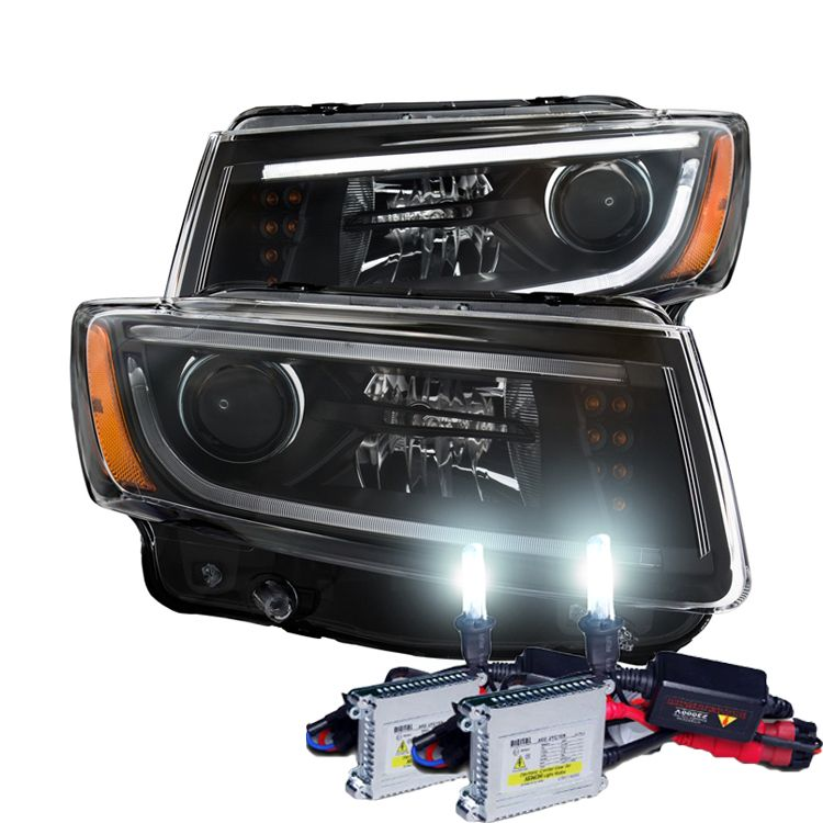 Hid Xenon 2014 2015 Jeep Grand Cherokee Fiber Optic Drl Projector Headlights Black Jeep Grand Cherokee 2015 Jeep Jeep
