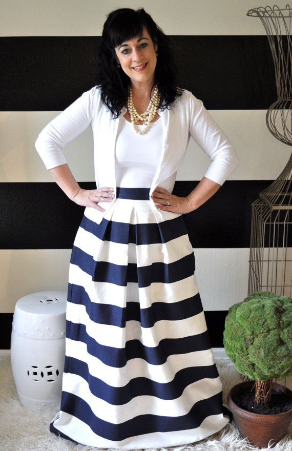 comfortable feel selected material newest style of Navy and White Striped Maxi Ball or Midi Skirt full pleated ...