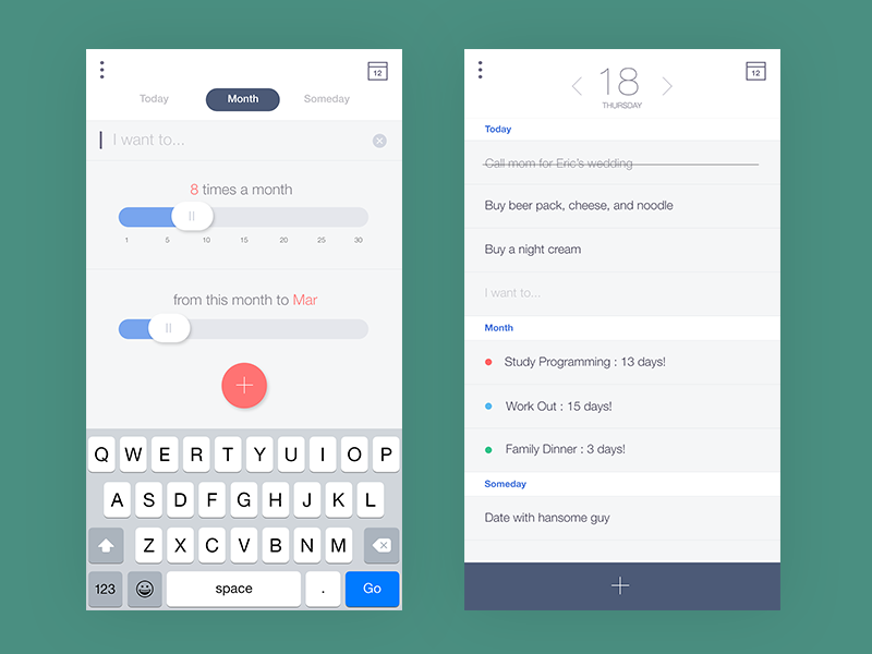 Monthly Todo list mobile app add a new task Mobile app
