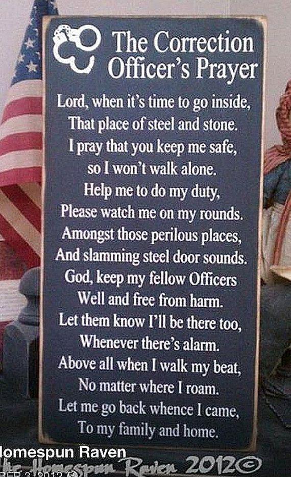 Corrections Officer Prayer Law Enforcement Wood Sign Cop Deputy LE