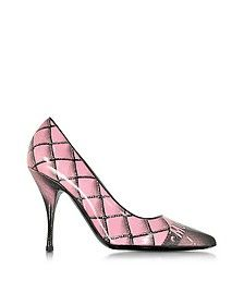 Pink Printed Leather Pump - Moschino