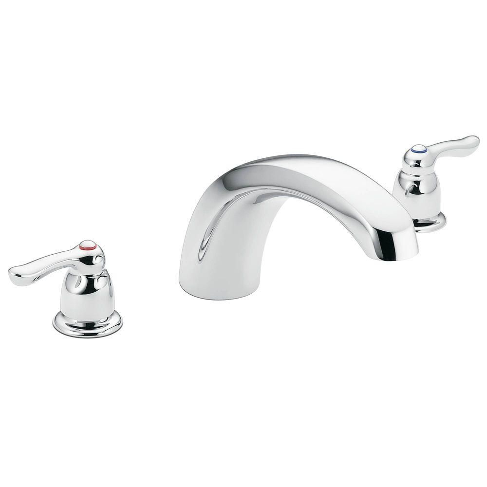 Moen Chateau 2 Handle Low Arc Roman Tub Faucet Trim Kit In Chrome Valve Not Included T990 The Home Depot Roman Tub Faucets Tub Faucet Roman Tub