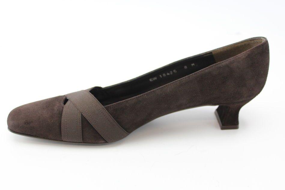 "Women's STUART WEITZMAN Dark Brown Slip On 2"" Mule Kitten Heels Size 8 M #StuartWeitzman #KittenHeels #SpecialOccasion"