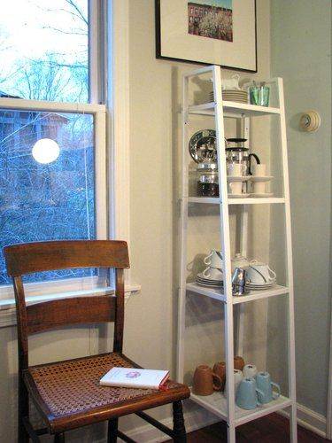 could use a ladder shelf like this, or a regular bookcase in the ...