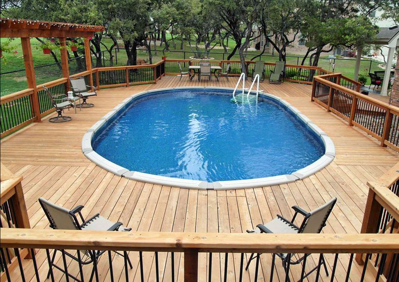 Get Inspired To Have A Above Ground Swimming Pool With These Designs Oval Pool Backyard Pool Above Ground Pool Decks