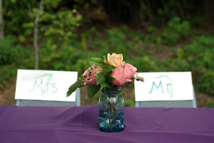 Mr. and Mrs. on our chairs for reception