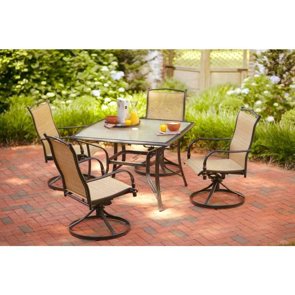 Hampton Bay Altamira Diamond 5 Piece Patio Dining Set D9976 5pcd At The Home Depot 449 Set My Parents Patio Dining Set Patio Set Patio Furniture Dining Set
