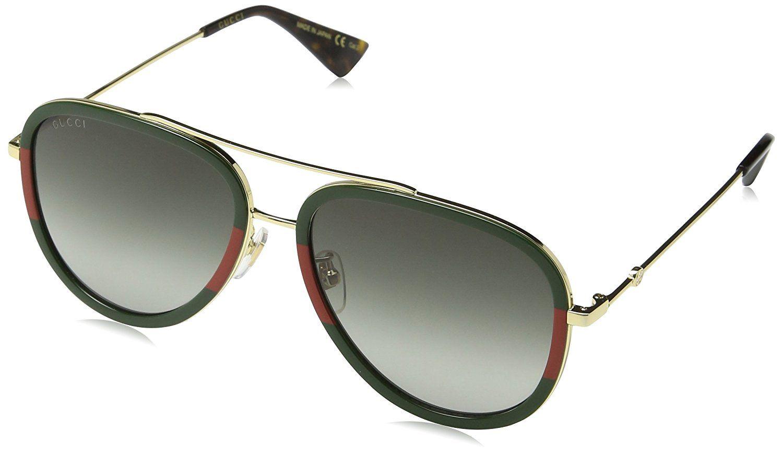 ba199ffd45 Gucci GG0062S 003 Gold Green GG0062S Pilot Sunglasses Lens Category 3 Size  57