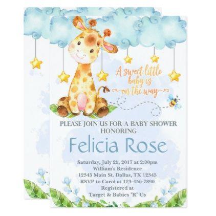 Giraffe Baby Shower Invitation Invite Blue Boy   Baby Gifts Child New Born  Gift Idea Diy. Ducha De ChicoRegalos ...