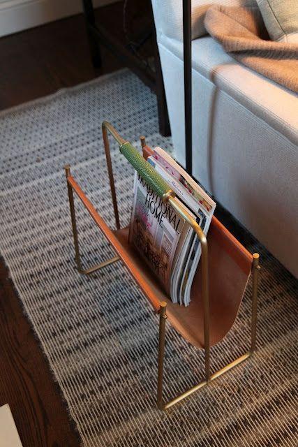 Leather magazine rack