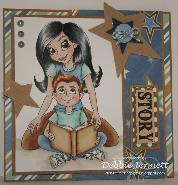 """Redonkadoodles.com - """"Mother and Son"""" Digital Stamp - Handmade Card Design By: Deb Jennett"""