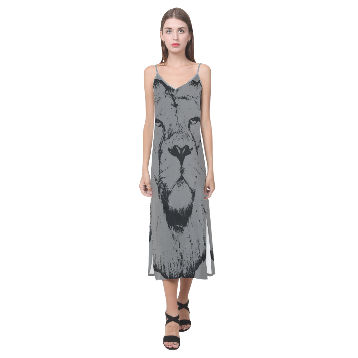 Lion jungle iv vneck open fork long dressmodel d fashion with