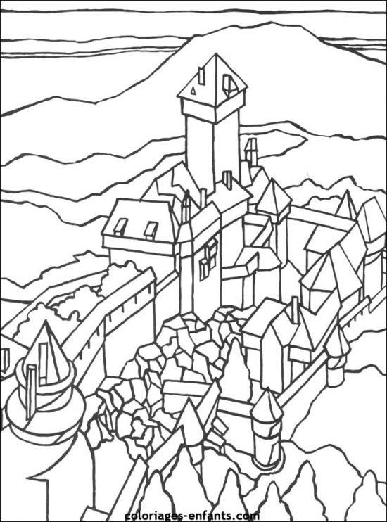 Chateau Fort Llibre Per Pintar Dibuix D Impressio Coloring