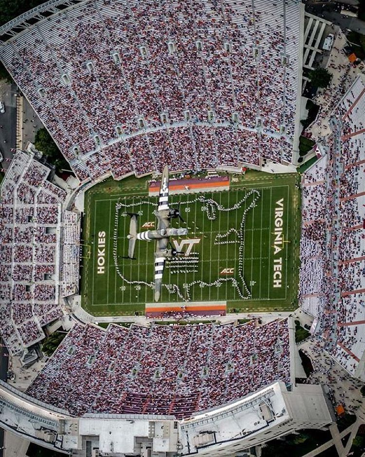 45d934b0 Check out another amazing bird's-eye view of yesterday's B-25 flyover at  halftime above Lane Stadium! #VirginiaTech #ThisIsHome (Courtesy Virginia  Tech ...