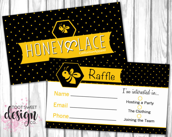 honey and lace raffle ticket honey lace raffle business card small business marketing
