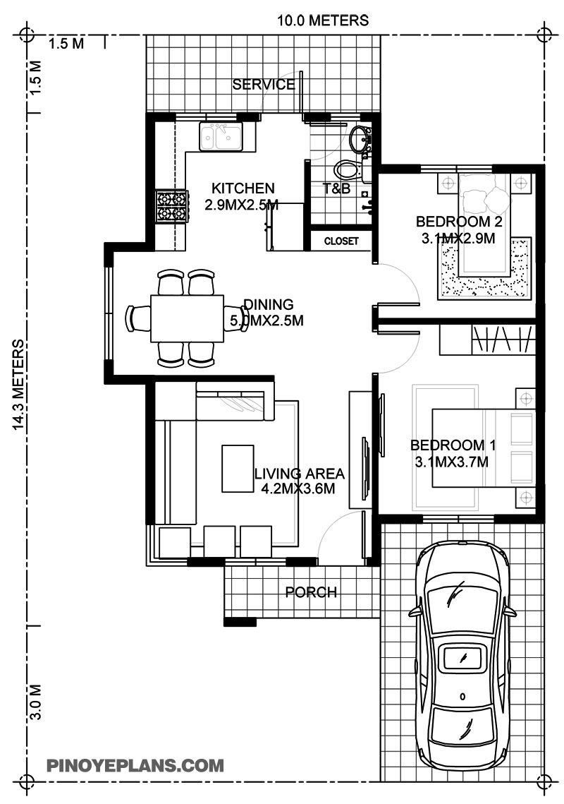 Wanda Simple 2 Bedroom House With Fire Wall Pinoy Eplans Two Bedroom House One Bedroom House Plans Bedroom House Plans