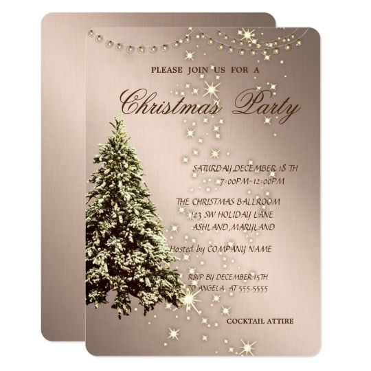 elegant christmas treesparkle christmas party card