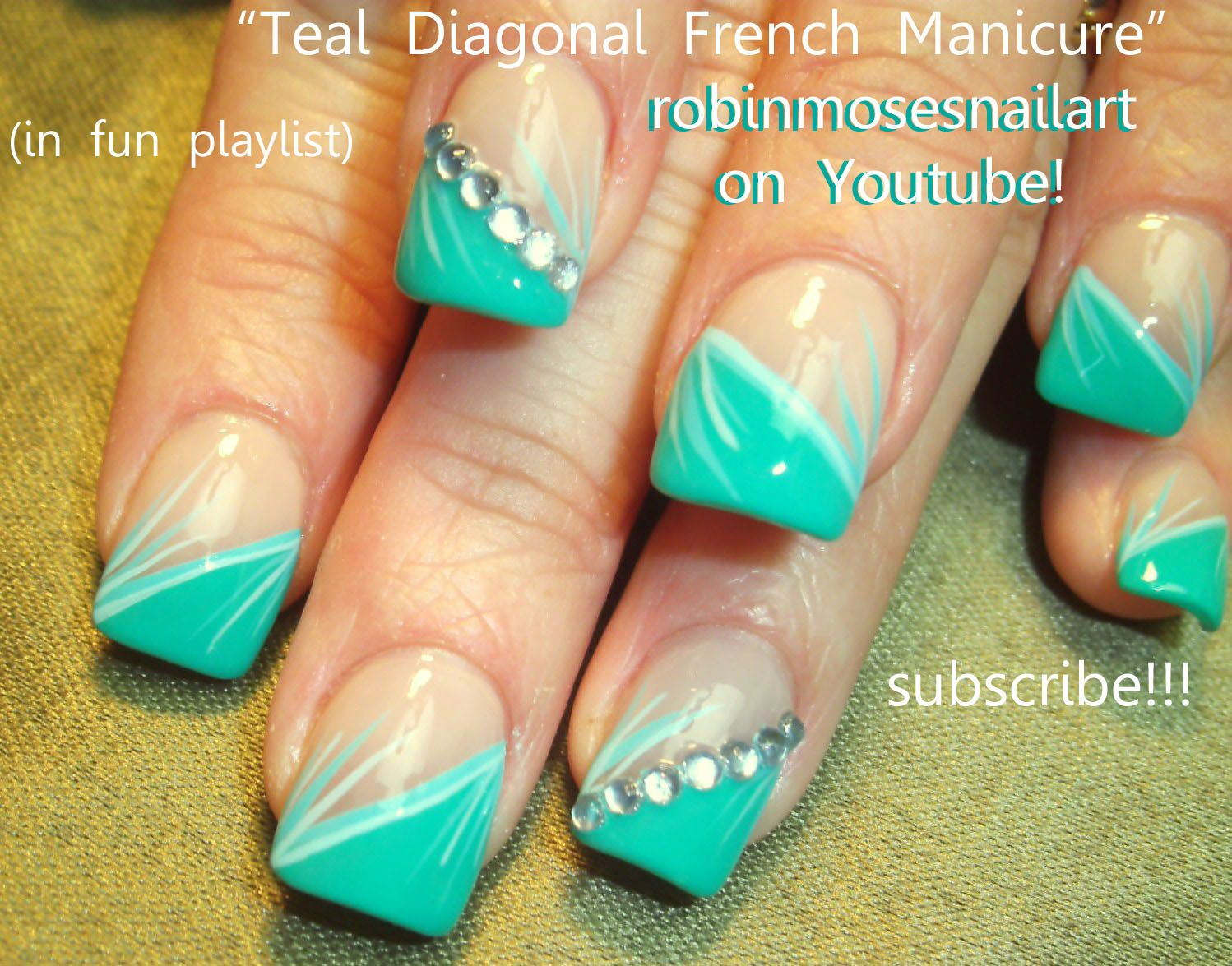 Pattern nail art designs fancy nail art for prom simple nail art lines - French Manicure Designs Teal Diagonal French Manicure Nail Art 770