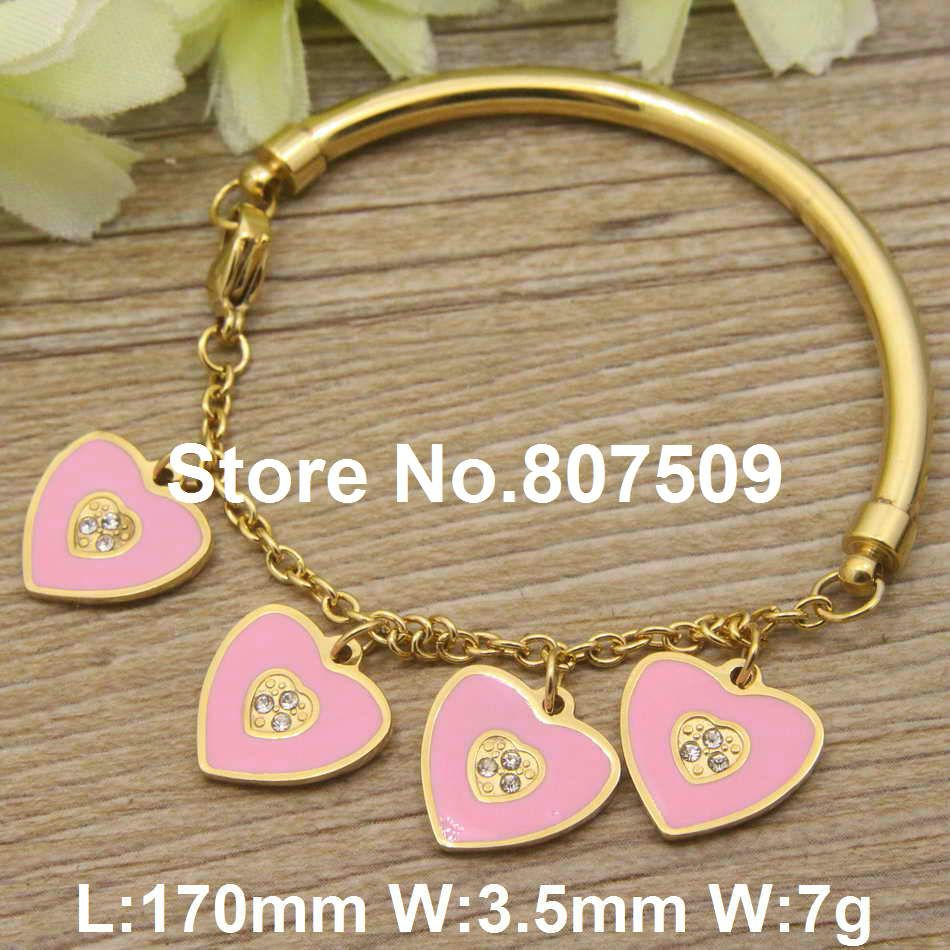 New design fashion stainless steel jewelry gold color lovely heart