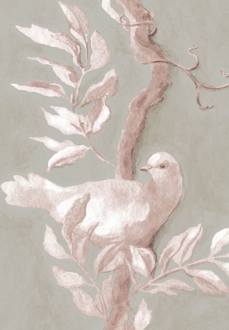 Doves, flax Wide Width Wallpapers by Lewis & Wood