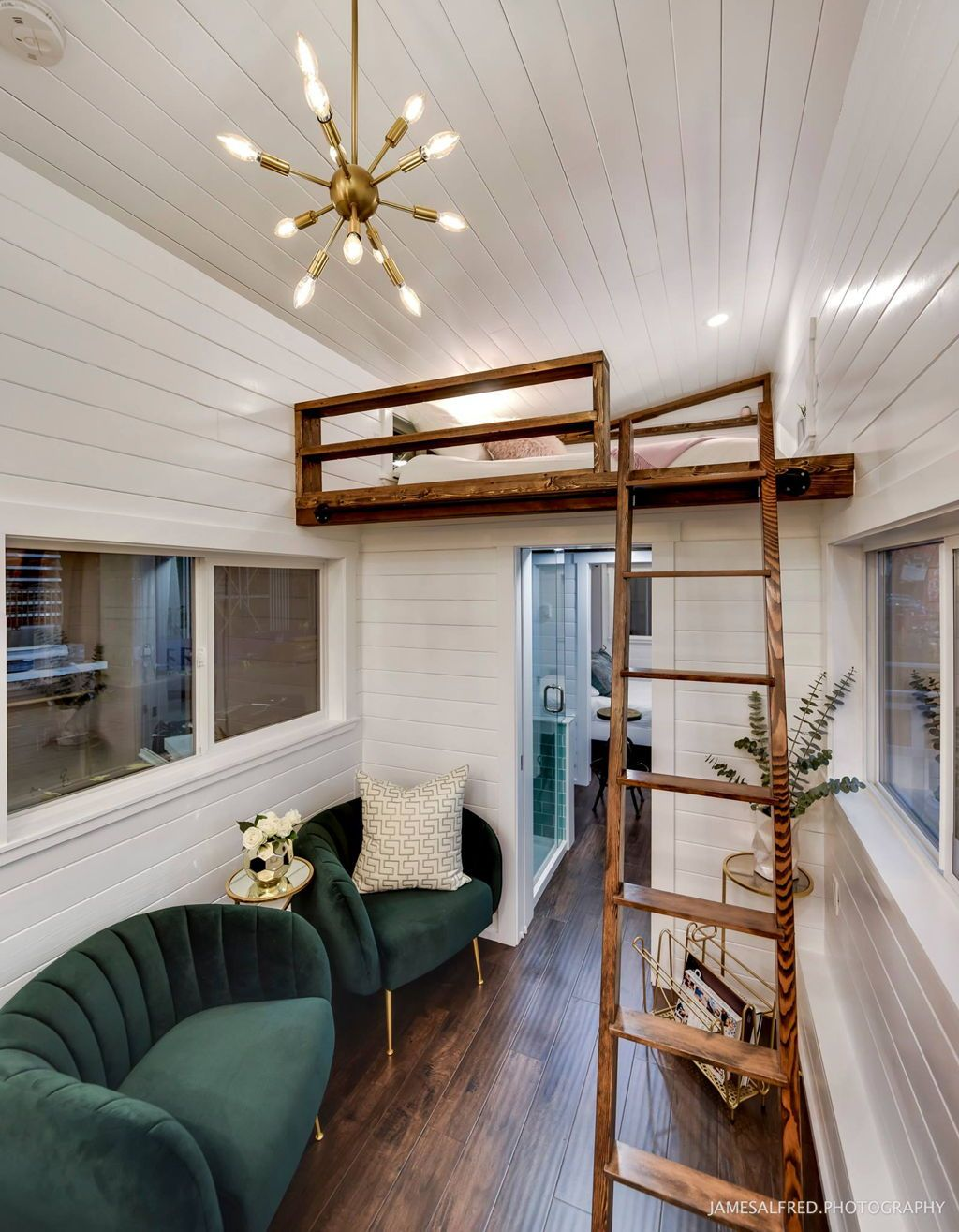 Loft above bedroom  Mint Loft  by Mint Tiny Homes  Master bedroom Lofts and Bedrooms