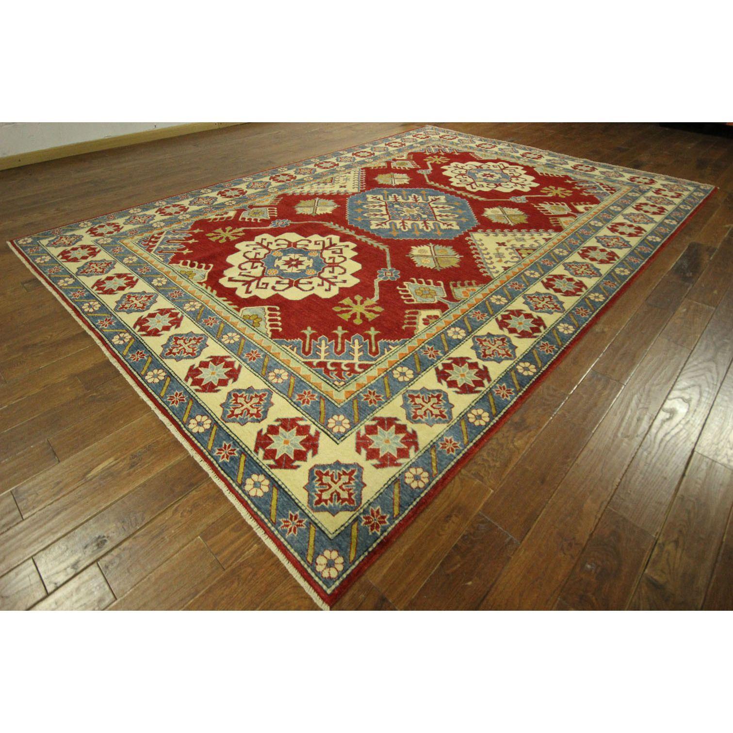 Manhattan Mesa Collection Hand Knotted Kazak Red Oriental Wool Area Rug 7 X