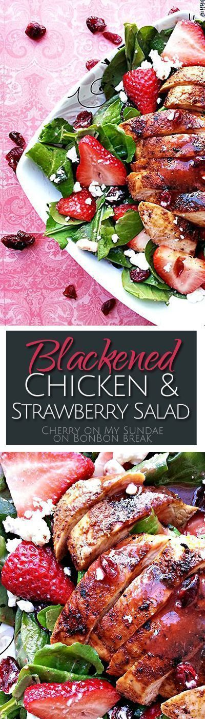 Full of spinach, feta, dried cranberries, and lots of fresh strawberries this Blackened Chicken & Strawberry Salad makes a perfect summer meal. #blackenedchicken Full of spinach, feta, dried cranberries, and lots of fresh strawberries this Blackened Chicken & Strawberry Salad makes a perfect summer meal. #blackenedchicken
